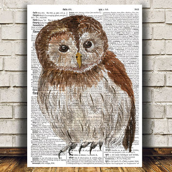 Dictionary print Tawney owl art Bird poster Animal print RTA1250