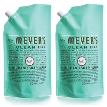Mrs. Meyers Clean Day Liquid Hand Soap Refill Pouch, Basil, 33 oz, 2 pack