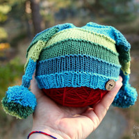 Handknit baby jester hat, soft and non-itchy merino and cotton yarn in shades of green and blue, boy or girls hat, baby shower gift