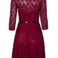 Burgundy Sheer Panel Sweetheart Skater Lace Dress With Belt