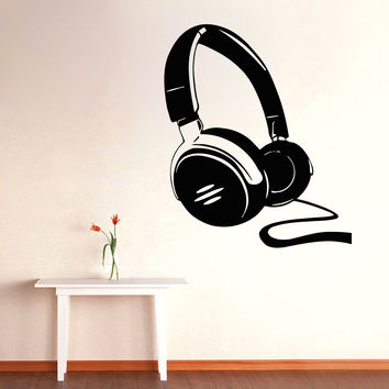 Wall Decals Vinyl Decal Sticker Art Mural Dorm Decor Love Music Headphones Kj873