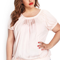 Satin-Trimmed Knit Top