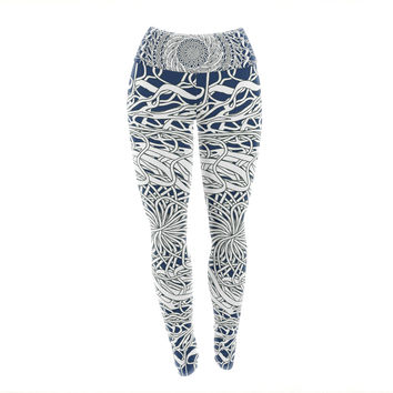 "Patternmuse ""Mandala Spin Navy"" Blue White Yoga Leggings"