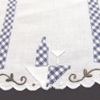 8 Linen Cocktail Napkins Blue Check Applique