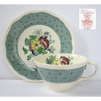 Vintage English China Teal Green Transferware Tea Cup & Saucer Floral Bouquet Roses Hand Painted Flowers Cottage