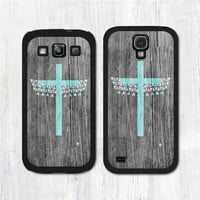 Mint Aztec Cross On Wood Samsung Galaxy s4 case, Galaxy s3 case, Galaxy s4 s3 cover (Printed Wood)