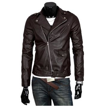 S-3XL Slim Fit Motorcycle PU Leather Jacket Mens Autumn Turn Down Collar Asymmetrical Zipper Outerwear Casual Coat 2017