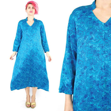 Vintage Silk Indian Dress  Turquoise Blue Silk Dress Paisley Print Long Sleeve Midi Length Festival Boho Hippie Floral Silk Tunic Dress (M)
