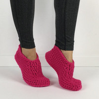 Crochet Hot Pink Slippers, Knitted Slippers, crochet house shoes, womens slippers, simple womens slippers, plain crochet slippers