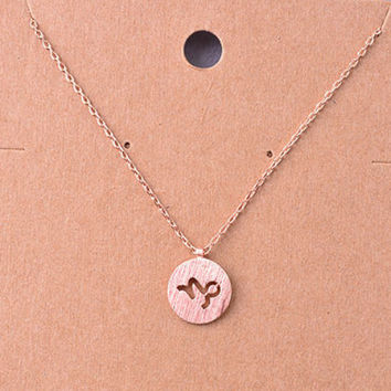 Capricorn Rose Gold Zodiac Charm Necklace