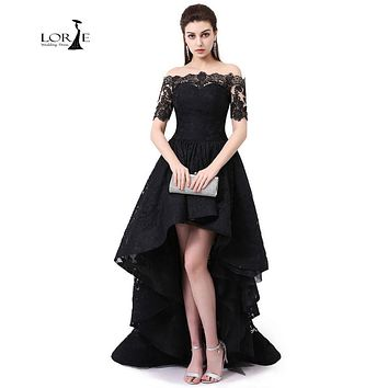 Lace Dresses Hi Low Vestidos De Graduacion Largos 2017 Off The Shoulder Prom Dress Short Sleeve Party Dress Black Hi Low