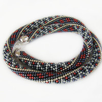 Beaded Crochet Necklace Crochet bead rope Women gift unique Classic office style Gray red silver necklace Geometric pattern Tracery jewelry