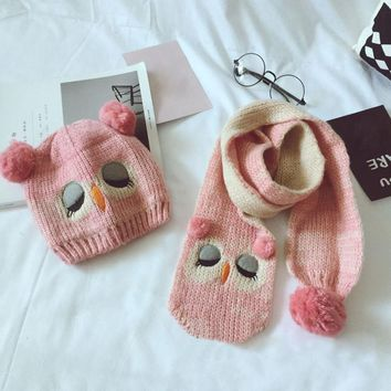 Baby Knitted Wool Owl Hat and Scarf Set (5 Colors Available)