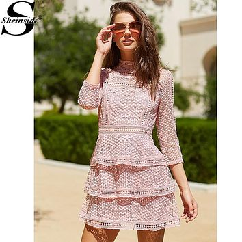 Sheinside Pink Lace Dres Vintage Crochet Party Dress Women High Neck 3/4 Sleeve Layered Dotted Dresses Sexy Autumn Mini Dress