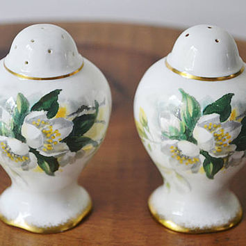Royal Albert Orange Blossom Salt And Pepper Shakers, Blossom Time Series, Floral Bone China Salt And Pepper