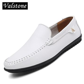 Valstone White Leather casual shoes men Autumn Slip on loafers soft italian leather flats super light Mocassins Plus size 47