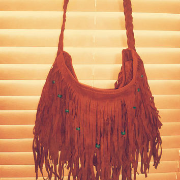 Boho Fringe Turquoise Hemp Beaded Shoulder Messenger Purse