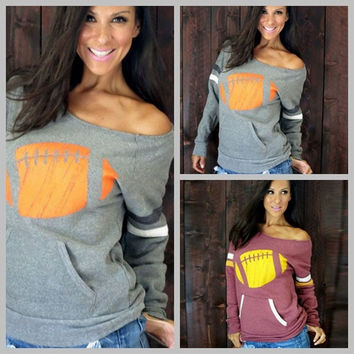 Ladies rugby printed Long Sleeved Sweatshirt Womens Off Shoulder Jumper Tops loose shirt s-xl = 5618502657