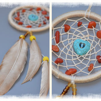 Car Accessory for women, Golden Mini  Car Dream catcher, Car Decor, Car Charm with Turquoise stone,Quartz stone.
