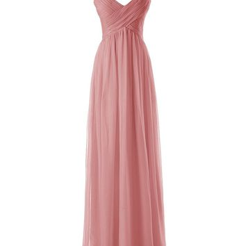 Ubridal Women's Long Spaghetti Straps Bridesmaid Dresses Pleated Formal Evening Gowns