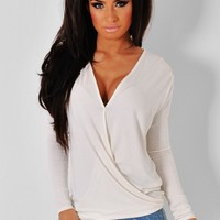 Averi Cream Wrap V-Neck Top | Pink Boutique
