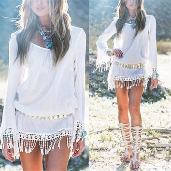 Light Thin Boho Style Lace Tassel Chiffon Mini Dress Tunic