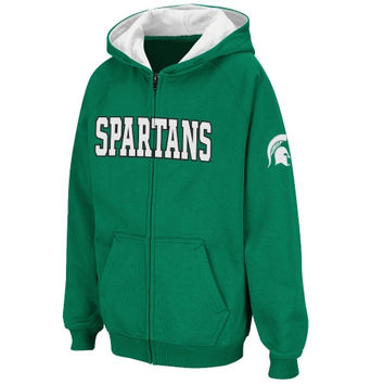 Michigan State Spartans Youth Straight Name Full Zip Hooded Sweatshirt – Green - http://www.shareasale.com/m-pr.cfm?merchantID=7124&userID=1042934&productID=522514293 / Michigan State Spartans