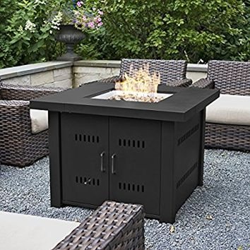 Belleze 40,000BTU Outdoor Patio Propane Gas Fire Pit Table w/ Fire Glass Kit Heater LG Gas, Black