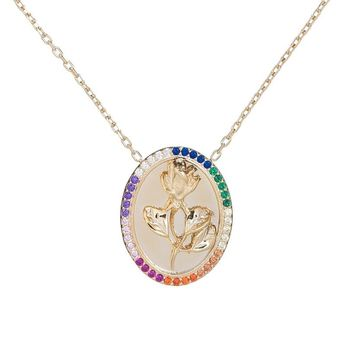 Rainbow Rose Tag Necklace