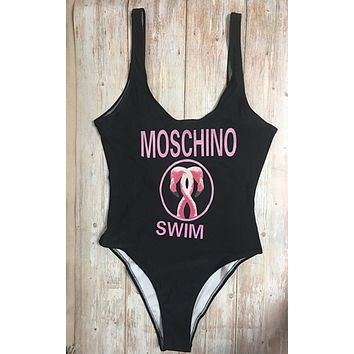 Moschino Fashion Women Beach Cute Bear Print Halter Vest Style One Piece Bikini Swimsuit