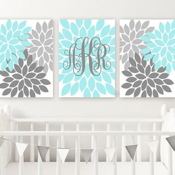 AQUA GRAY Nursery Wall Decor, Baby Girl Monogram Wall Art, Girl Bedroom Flower Monogram, Set of 3, Canvas or Prints, Girl Above Crib Decor