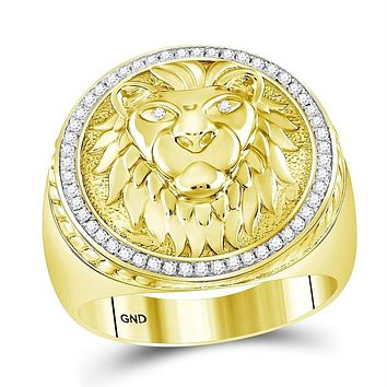 10kt Yellow Gold Men's Diamond Lion Head Mane Ring