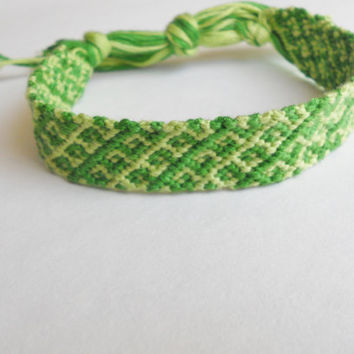 Friendship Bracelet - Green Aztec Pattern - Handmade
