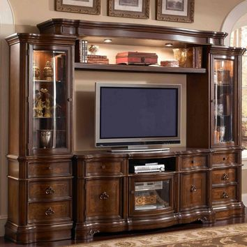 Mc Ferran E9100 4 pc florenza ii collection dark wood finish tv entertainment center wall unit with glass cabinets