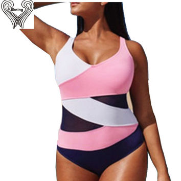 plus size Swimwear female 1 piece swimsuit One Piece Swimwear Women 2016 Mesh Bodysuit Retro tank top Monokini mesh bikini h125