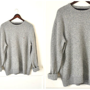 TOMMY HILFIGER sweater vintage 90s grunge ANGORA + lambswool grey speckled oversized jumper large