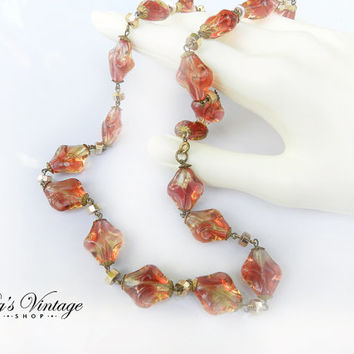 Vintage Art Deco Czech Glass Bead Necklace, Lovely Amber Pink Orange Glass Beads