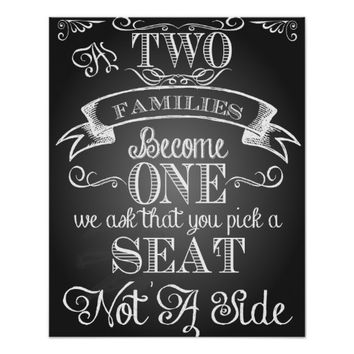 wedding sign pick a seat not a side poster