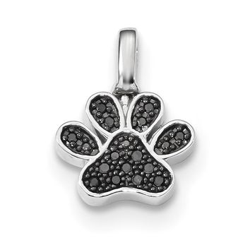 Sterling Silver Genuine Black And White Diamond Reversible Paw Print Pendant