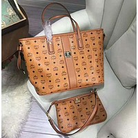 MCM Women Shopping Bag Leather Tote Handbag Shoulder Bag Three Piece Set
