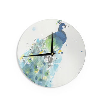 "Rebecca Bender ""Abstract Watercolor Peacock"" Blue Teal Wall Clock"