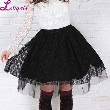 Sweet Short Black Rose Pattern Lace Pleated Skirt for Lady Free Shipping