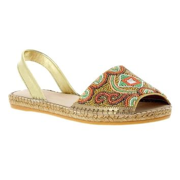 Jenna Beaded Espadrille Sandals