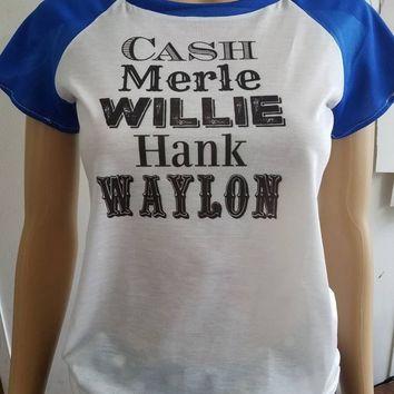 Cash - merle  - hank - Waylon - county - music - jonny - cash  - tee - raglan - t - shirt- cap - sleeve - pinup - shirt - summer