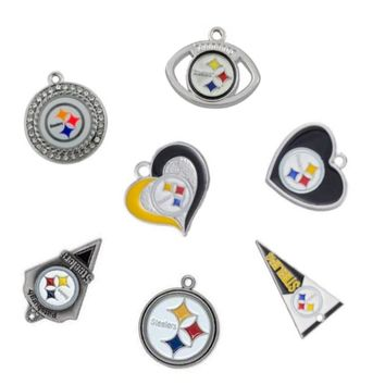 11 Styles Alloy Enamel Pittsburgh Steelers Pendant Charms DIY Dangle For Necklace&Bracelet Sport Jewelry 10Pcs