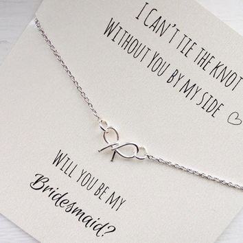 Will you be my bridesmaid, tie the knot necklace, bow necklace, tiny bow necklace, wedding jewelry, silver, gold