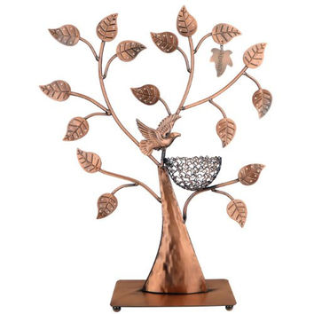 MyGift® Jewelry Tree w/ Bird Nest 48 pair Earrings Holder, Bracelets / Necklace Organizer Stand