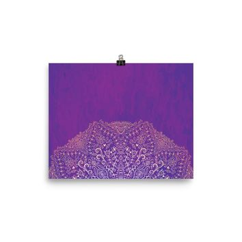 Reiki Charged Deep Purple Mandala Poster Yoga Meditation Mandala