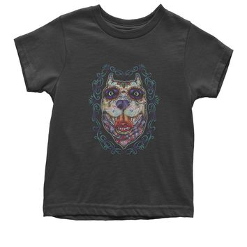 (Color) Pitbull Sugar Skull Day Of The Dead Youth T-shirt