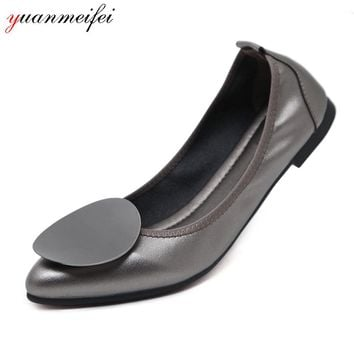yuanmeifei Ballet Flats Shoes Women Casual Shoes Ladies Loafers Shoes Spring Slip-On Size 34-41 Pointed Toe 2018 New Arrival